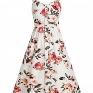 Floral Smocked Back Mock Buttons Cami Dress