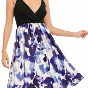 Floral Surplice A Line Cami Dress