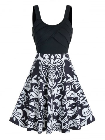Front Pleated Flower Print Cami A Line Dress