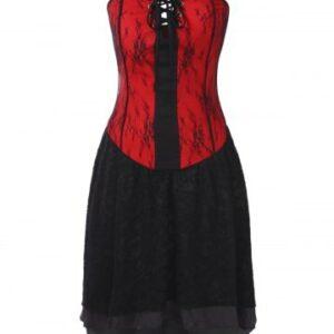 Gothic Bandeau Strapless Lace Corset Dress