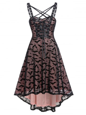 Gothic Bat Pattern Lace up Grommet Dress