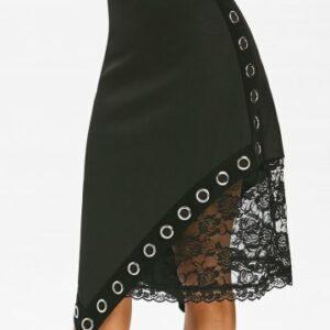 Gothic Grommets Lace Insert Asymmetric Skirt