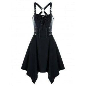 Gothic Lace Up Grommet Handkerchief Dress