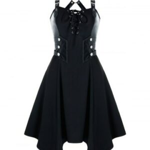Gothic Lace Up Rivet Back Criss Cross Dress