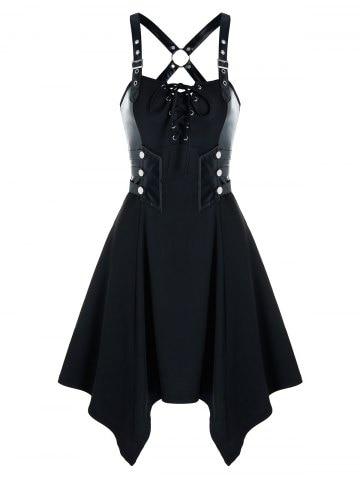 Gothic Lace Up Rivet Back Criss Cross Dress