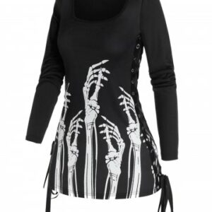 Gothic Skeleton Hands Print Side Lace Up T Shirt