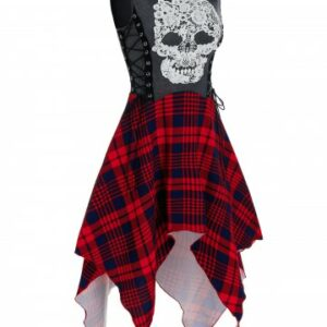 Gothic Skull Embroidery Side Lace up Dress