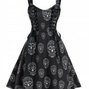 Gothic Skull Print Lace Up Mini Cami Dress