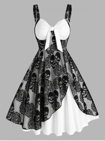 Gothic Sleeveless Skull Lace Insert Twofer Dress
