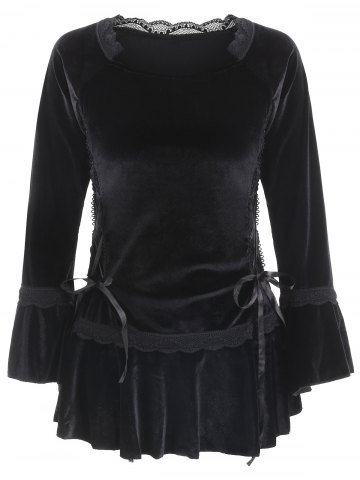 Gothic Style Sweetheart Neck Long Sleeve Pure Color Lace Up Women s Blouse