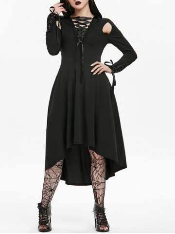 Halloween Hooded Cut Out Lace up Long Sleeve Gothic Dress
