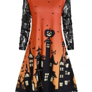 Halloween Plus Size Castle Pumpkin Print Swing Dress
