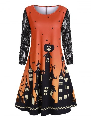 Halloween Plus Size Castle Pumpkin Print Swing Dress
