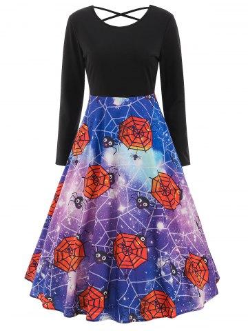 Halloween Print Long Sleeve Swing Dress