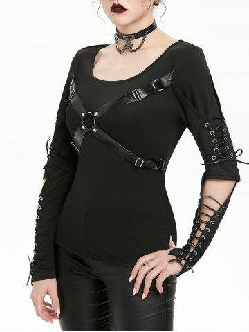 Harness Insert Lace up Cut Out Elbow Gothic T shirt