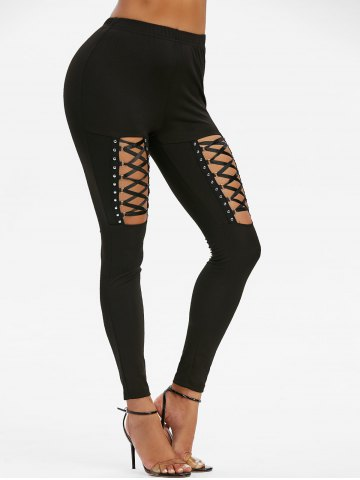 High Waisted Rivet Detail Lace up Gothic Leggings