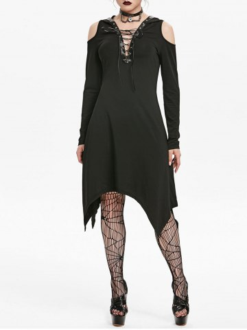 Hooded Cold Shoulder Lace up Grommet Handkerchief Gothic Dress
