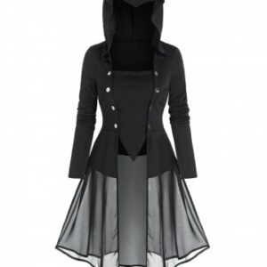 Hooded Lace up Skirted Gothic T shirt