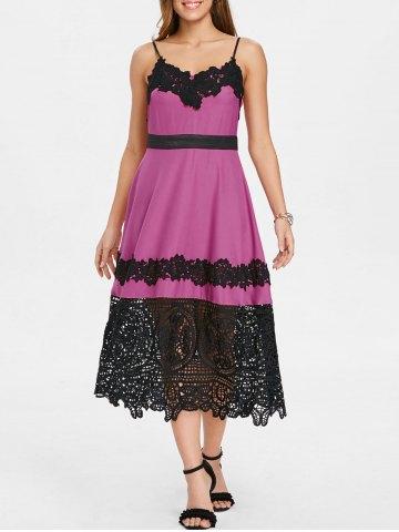 Lace Insert Vintage Swing Midi Dress