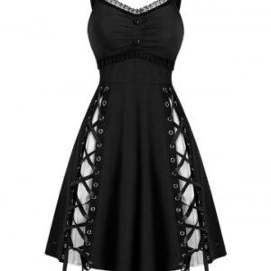 Lace Panel Sleeveless Lace up Gothic Dress