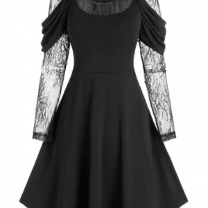 Lace Sleeve Gothic Prom Dress