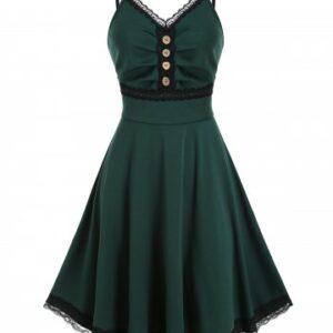 Lace Trim Mock Button Cami A Line Dress