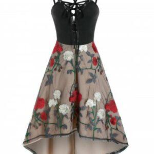Lace Up Cami High Waist Floral Lace Dress