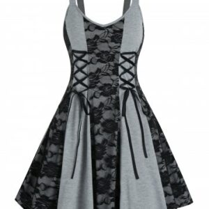 Lace Up Floral Lace Mini Cami Dress