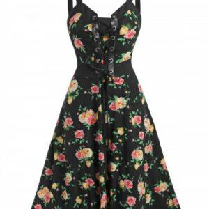 Lace Up Floral Print Mini Cami Dress