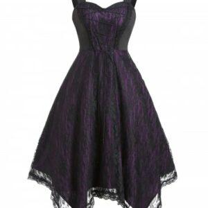 Lace Up Gothic Asymmetrical Lace Dress