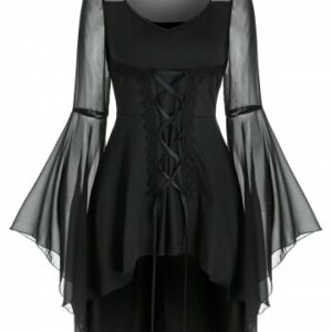 Lace Up Sheer Flare Sleeve Gothic T Shirt
