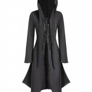 Lace up Front Hooded Heathered Handkerchief Gothic Coat