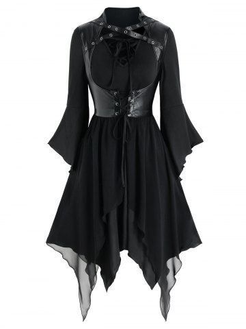 Lace up Handkerchief Dress and Faux Leather Gothic Vest