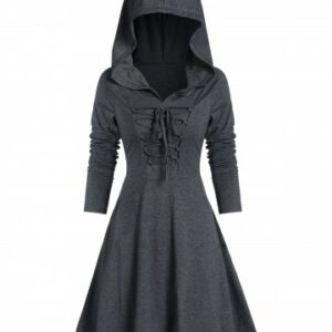 Lace up High Low Hooded Heathered Gothic Dress