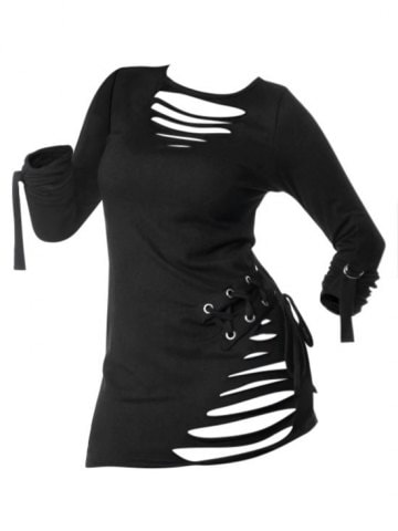 Lace up Ripped Long Sleeve Gothic T shirt
