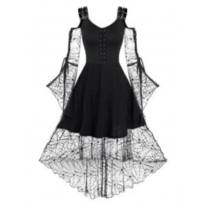 Lace-up Spider Web Lace High Low Gothic Dress