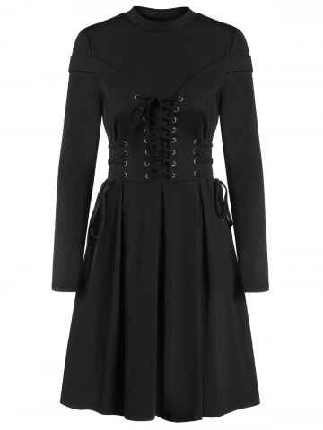 Long Sleeve Lace up A Line Pleated Gothic Dress