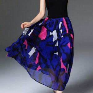 Maxi Short Sleeve Printed Swing Dress
