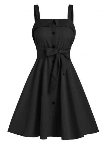 Mock Button Tie Waist Cami A Line Dress