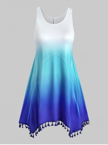 Ombre Tasseled Trim Swing Plus Size Dress