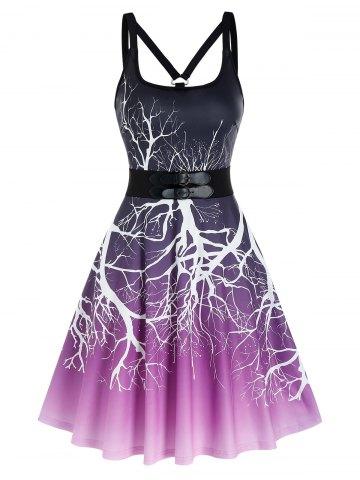 Ombre Tree Print Dual Buckles Cami A Line Dress