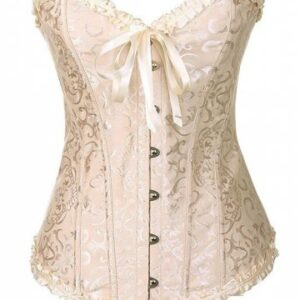 Overbust Lace up Frilled Boned Brocade Corset