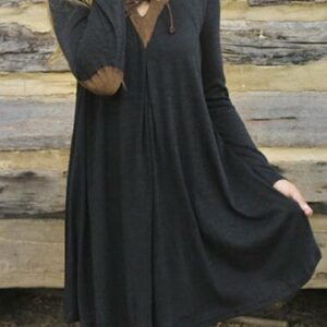 Patched Elbow T shirt Swing Dress