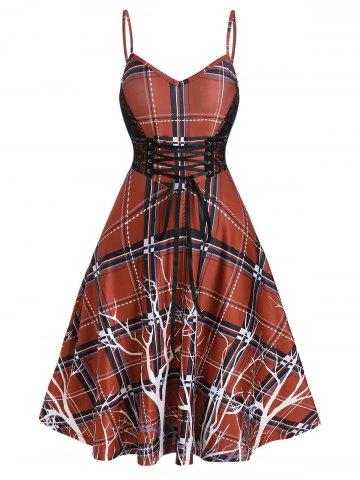 Plaid Print Lace Up Cami A Line Dress