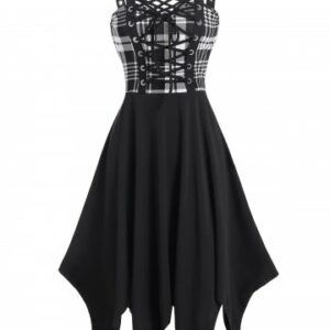 Plaid Print Lace up Gothic Handkerchief Dress