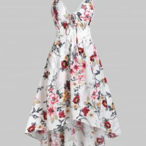 Plunging Neck Bowknot Floral Print Cami Dress