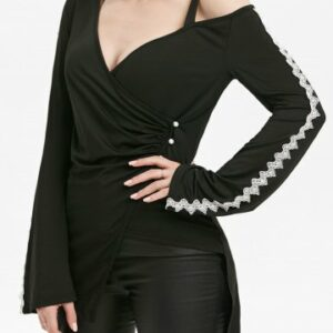 Plunging Neck Lace Crochet Overlap Gothic T shirt