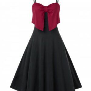 Plus Size Bowknot Two Tone Cami A Line Dress