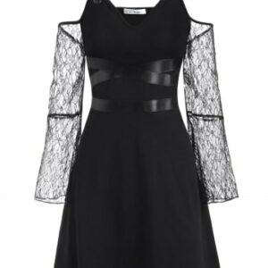 Plus Size Buckled Lace Sleeve Cold Shoulder Gothic Dress