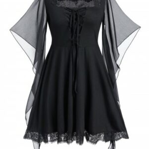 Plus Size Butterfly Print Lace Up Gothic Halloween Top